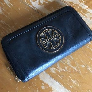 Tory Burch Envelope Wallet Black Leather